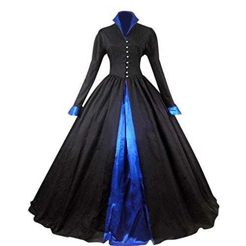 COUCOU Age Viktorianisches Kleid Gothic Kostüm Bürgerkrieg Stehkragen Lange Ärmel Schwarzes