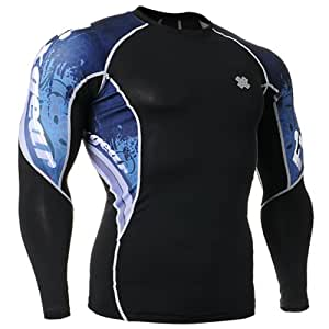 Fixgear Homme Femme Blue Printing Spandex Compression Shirt Manches longues S