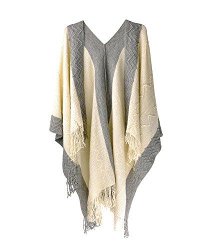 ZLYC poncho à franges contrastées pour femmes, basique doux et léger à mailles texturées, couverture, écharpe, châle, blanket wrap Beige