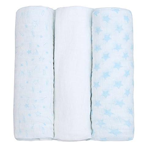 Newborn Baby Muslin Cloth Squares (3 Pack 76x76cm) 100% Cotton
