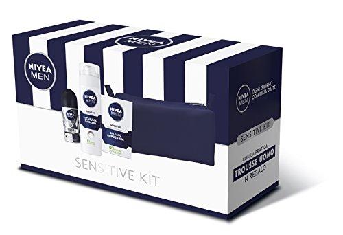 Nivea Men Sensitive Kit Set Regalo da Uomo, Balsamo Dopobarba, Schiuma da Barba e Invisible Black & White Roll-on Deodorante