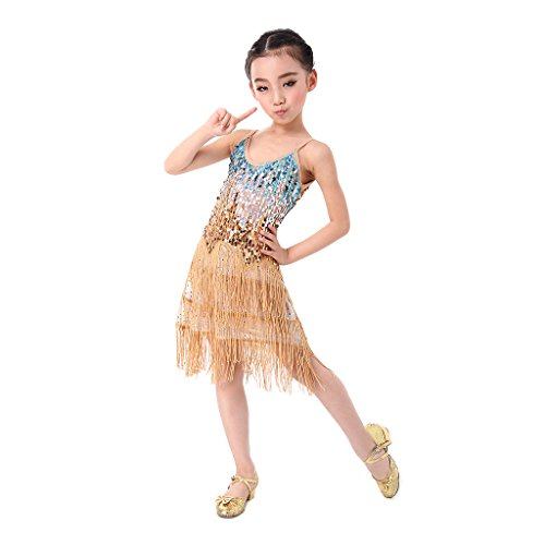 SymbolLife filles latine Salsa Tango Ballroom Dance Dress Costume Paillettes Tassel Or
