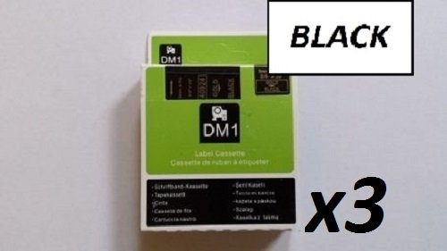 3X COMPATIBLE DYMO D1 SERIES STANDARD LABELLING TAPES. 6mm X 7m - BLACK ON WHITE 43613