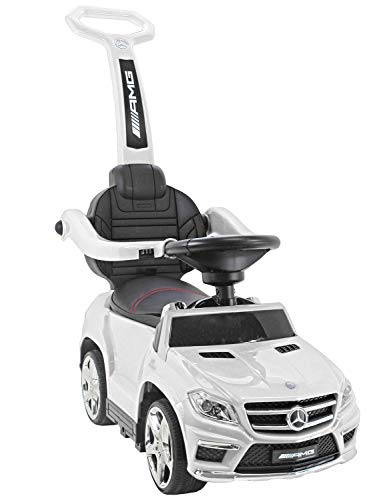 *Mercedes Benz 4 in 1 GL 63 AMG Kinder-LAUFLERNHILFE-LAUFWAGEN-RUTSCHER-WIPPE-Auto Daimler MB Weiss*