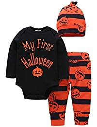 Fascigirl 3PCS Baby Outfit Set Cute Pumpkin Baby Romper Set for Halloween