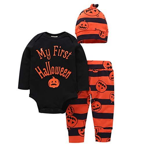 Zoylink 3 Stück Baby Halloween Outfit Einstellen Niedliche Kürbis Spielanzug Hut Hosen für Baby (Niedliche Strampler Xl)