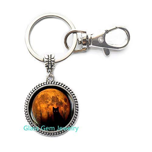 Vollmond Katze Gelb Mond Schlüsselanhänger Halloween Schwarz Katze Schwarz Schlüsselanhänger Wiccan Schlüsselanhänger Q0038 ()