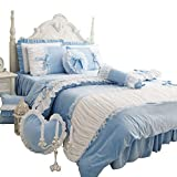 FADFAY Cute Girls Short Plush Bedding Set Romantic White Ruffle Duvet Cover Sets 4-Piece,Blue Full