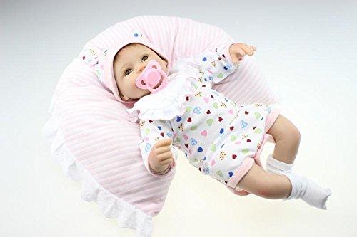Nicery Neugeboren Baby Puppe Weich Silikon 18inch 45cm Magnetisch Schone Naturgetreue Niedlich Junge Madchen Spielzeug Weiss Latzchen Eyes Open Reborn Doll A3DE - Baby Tuch Puppe
