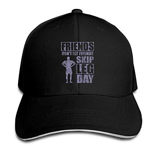 Gorgeous ornaments Men's Women's Friends Don't Let Friends Skip Leg Day Cotton Adjustable Peaked Baseball Cap Adult Sandwich Hat