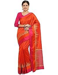SAREE MALL Women'S Banarasi Silk Saree With Blouse Piece (Orange_Free Size )