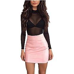 Vestido largo Amlaiworld Mujeres vendaje de cuero lápiz bodycon cadera mini falda (S, Rosa)