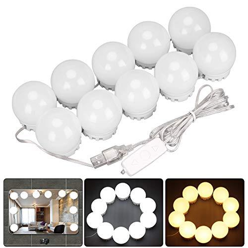 Spiegel Beleuchtung, LUCKYDIY LED Spiegelleuchte Hollywood Stil LED dimmbar Glühbirnen (3200K & 6500K) USB Plug In, Schminktisch...