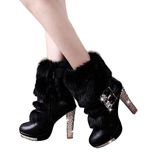 MYMYG Frauen Schuhe Stiefeletten Kristall Wildleder Wedge Strass Middle Tube Leder Stiefel Reißverschluss High Heels Schuhe Wellington Boots Pelz Stiefel