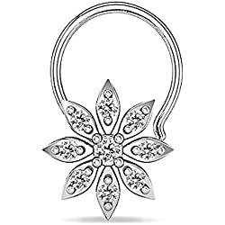 Silver Dew White Sterling-Silver Nose Pin For Women & Girls