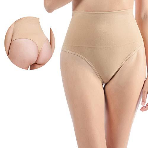Libella 2er Pack Damen Hohe Taille Miederslip Shapewear Bauch Kontrolle String Tanga Figurformende Miederhose Unterwäsche 3612 Beige L/XL - 5