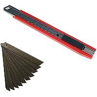 Tajima Kompakt Cutter 9 mm + 2 Klingen und 10 Ersatzklingen Tajima Razar Black 60° rot