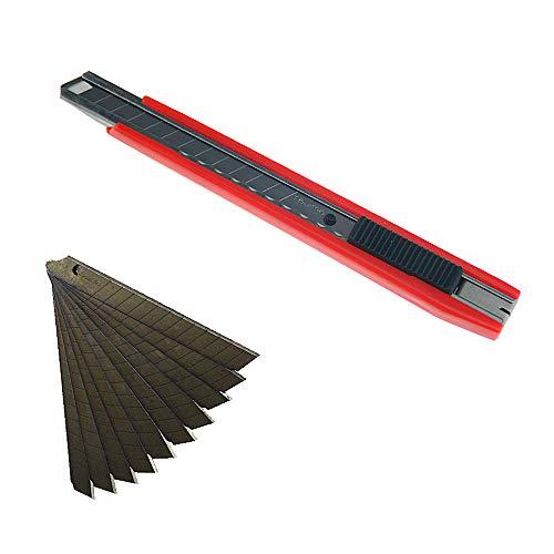 Tajima Kompakt Cutter 9 mm + 2 Klingen und 10 Ersatzklingen Tajima Razar Black 60° rot -