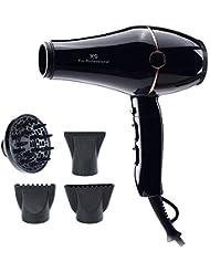 DOZZlOR Seche Cheveux Professionnel 2000W, Sèche-cheveux ionique négatif pour Séchage rapide Réglage de la chaleur 3 niveaux de température / 2 vitesses avec 2 concentrateur + 1 diffuseur (Noir)