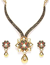 Shayna Jewellery Gold-Toned & Black Stone-Studded Textured Necklace With Earrings