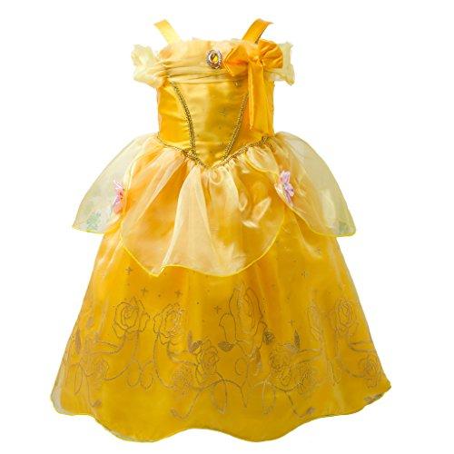Pettigirl Mädchen Prinzessin Golden Beauty Schönheit Magisches Kostüm Schick Ankleiden 110 (Beauty Kostüme)