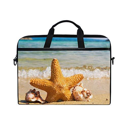 Stilvolle Aktentasche Laptoptasche 15 Zoll mit Schultergurt für Männer und Frauen Golden Starfish Beach