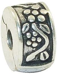 Andante-Stones - 925 cuenta de plata, cierre a presión, elemento separador, con flores talldas, elemento bola para cuentas European Beads + saco de organza