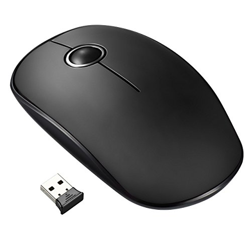 VicTsing VTGEPC071AB-ITVT1, Mouse senza fili silenzioso ed ultrasottile, 2.4G Mouse wireless con ricevitore nano, 1600 DPI, Nero