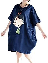 ELLAZHU Femme Été Large Convenable Grande Taille Impression T-Shirt Robe GA637
