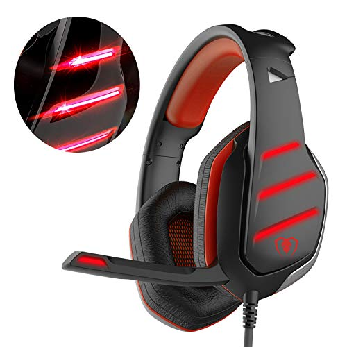 Beexcellent GM-3 Pro Wired Gaming Headset avec micro, LED et contrôle du volume Stereo Over-Ear Bass Noise Canceling, pour PS4 Xbox One, Ordinateur portable, PC(Rouge)