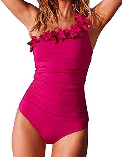 Akaayuko trikini donna mare tankini costume da bagno donna swimwear one piece -rosso l