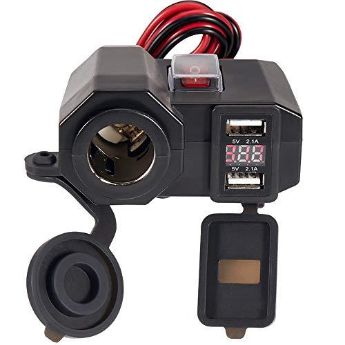 Semoss 3 in 1 Wasserdicht 12V Dual USB Ladegerät Kit Motorrad mit Auto Zigarettenanzünder Universal für GPS Navigation iPhone Galaxy Huawei Smartphones