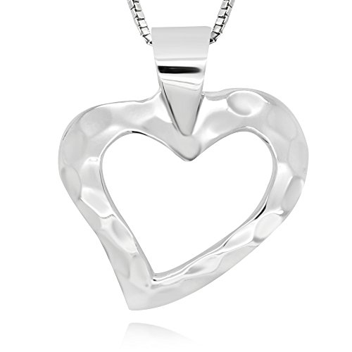 925-sterling-silver-hammered-open-heart-shape-pendant-necklace-18