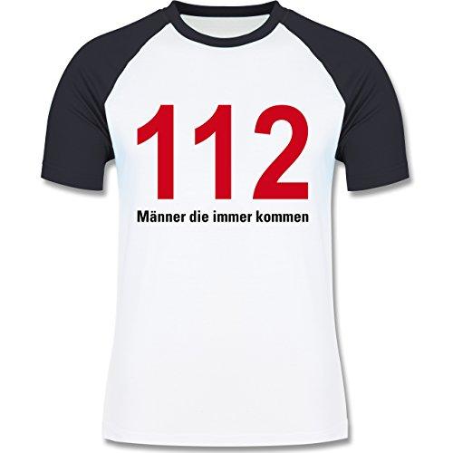 Feuerwehr - 112 - Männer die immer kommen - zweifarbiges Baseballshirt für Männer Weiß/Navy Blau