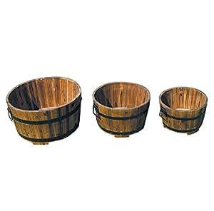 Bentley Garden - Lot de 3 jardinières/pots de fleurs - style tonneau - rond - bois