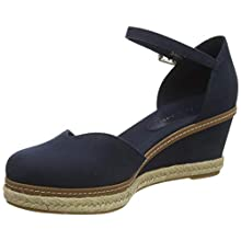 Tommy Hilfiger Women's Basic Closed Toe Mid Wedge Open Sandals, Blue (Desert Sky Dw5), 7 UK