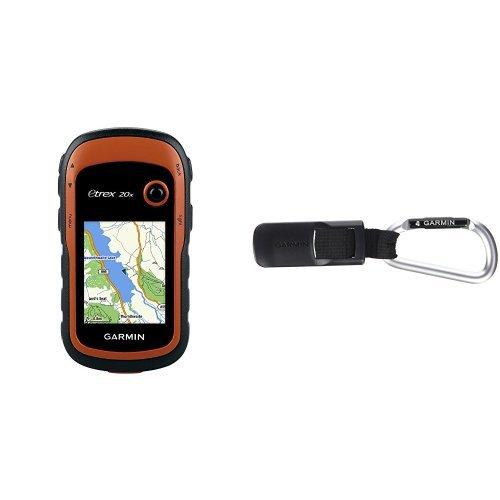 Garmin eTrex 20x Outdoor Navigationsgerät (TopoActive Karte, hochauflösendes 5,58cm (2,2 Zoll) Farbdisplay) & Garmin Karabiner-Halterung