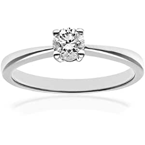 Naava Platinum Engagement Ring, IJ/I Certified Diamond, Round Brilliant, 0.33ct