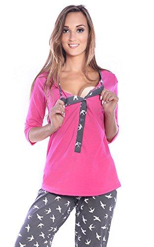 Mija - 3 in 1 Stillpyjama / Stillschlafanzug / Umstandspyjama / Pyjama 4054 Rosa / Graphite