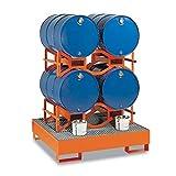 Disset Odiseo FG6002 Soportes Apilables para Bidones de 200 lts, Naranja Puro, 1170 mm x 750 mm x 370 mm