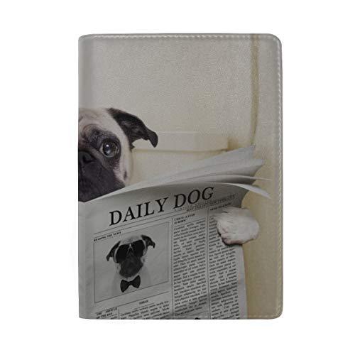 Hund lesen Zeitung oder Zeitschrift blockieren Print Passinhabers Cover Case Reisegepäck Passport Wallet Kartenhalter aus Leder für Männer, Frauen, Kinder, Familie -