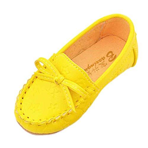 Ouneed® Doux Cuir Chaussures Bateau Fille EU 21 -25 Jaune