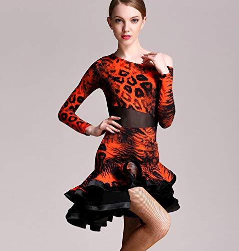 Erwachsene Kostüm Schönheit Plus Für - QMKJ Latin Dance Kleid für Damen Damen Leopardenmuster Wettbewerb Kostüm Adult Dance Practice Jazz Cha Cha Ballett orange S M L XL XXL,S