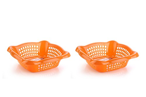 Nayasa Melow 2 Piece Plastic Fruit Basket Set, Small, Orange
