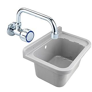 Ausgussbecken | grau | inkl. Standard Wand-Kaltwasserarmatur | aus Kunststoff | 50x34x21