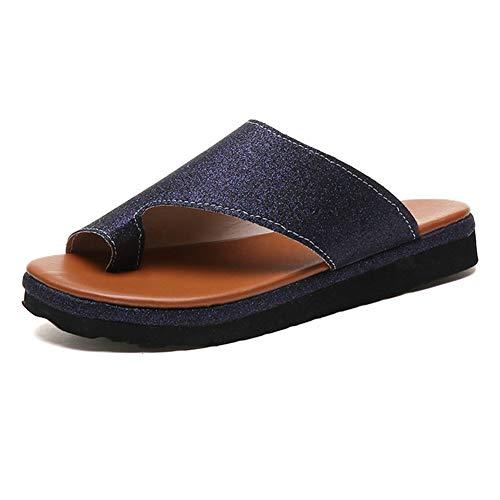 HBBLX Donne Comfy Correzione Sandalo Shoes Summer Beach Travel Slittata Resistente all'Usura Aiuta A Ridurre Il Dolore al Piede Infra-Alluce Protezione Borsite,Darkblue,40