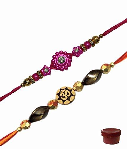 Adiari Fashion Set of 2 Multicolored Beads OM Design Bracelet Rakhi Combo for Men