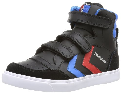 hummel HUMMEL STADIL JR LEATHER HIGH, Unisex-Kinder Hohe Sneakers, Schwarz (Black/Blue/Red/Gum), 38 EU (5 Kinder UK)