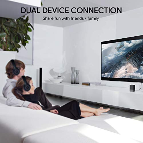AUKEY Bluetooth 5.0 Trasmettitore Ricevitore 2-in-1, 50m Wireless Adattatore Audio con aptx-LL, Doppio-Link, Audio da 3,5 mm / RCA /Optical Cable per TV, PC, Impianto Stereo Domestico ecc