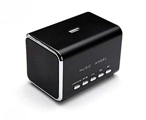 MUSIC ANGEL - Mini Stereo Lautsprecher / Boxen / Soundstation / Lautsprechersystem für Apple iPod, iPod Nano, iPod Touch, iPod Shuffle - mit eingebautem Radio, USB-Slot, Micro-SD Kartenslot & 3,5mm Klinkenstecker - Farbe: schwarz